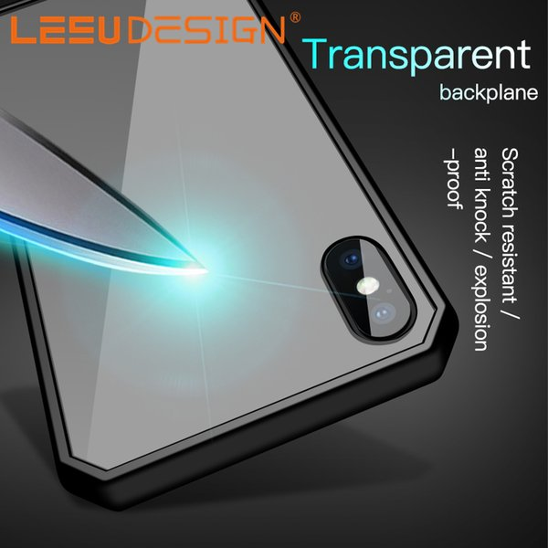 LEEU DESIGN hybrid clear acrylic back TPU bumper drop resistance anti shock mobile phone case for iphone x xr xs max 6 7 8 s9 10 LITE PLUS