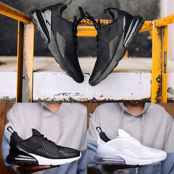 Nike Air Max 270 Büyük Boy 36-49 Erkek Kadın Koşu Ayakkabıları Çekirdek Üçlü Siyah Beyaz Tasarımcı Trainer Paketi Ucuz Spor Sneaker ABD 5.5-14 Ücretsiz Kargo