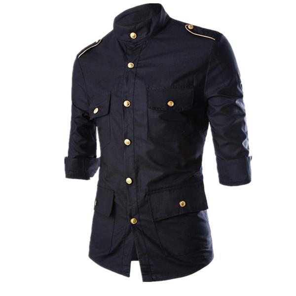 2016 New Men's Eet Long-Sleeve Cargo Dress Shirts Uniform Shirt Mens Cotton Slim Black Blue Wine Red Camisas homme
