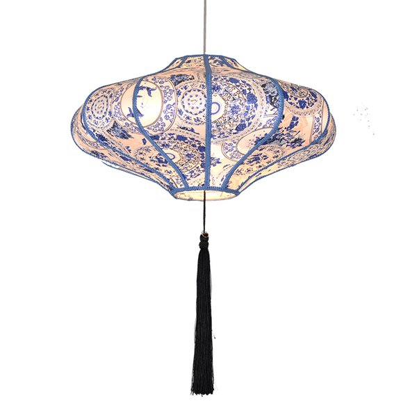 OOVOV Blue and White Wares Cloth Pendant Lamp Dining Room Hotal Tea House Pendant Light,Chinese Style