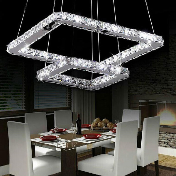 Ac100 110v 120v 220v 240v qure or rectangle led cry tal hanging light modern chandelier pendant lamp led lu tre u pen ion luminaire