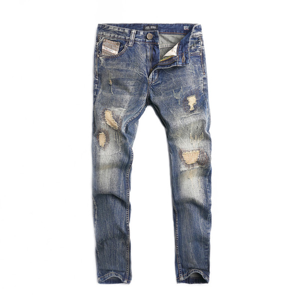 High Street Fashion Mens Jeans Vintage Designer Straight Fit Destroyed Ripped Jeans Homme Hip Hop Punk Pants Classical Men