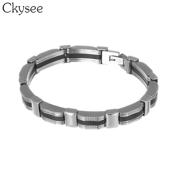 Ckysee 22 cm Uzun Moda Erkek Takı Titanyum Paslanmaz Çelik Zincir Bileklik Bileklik Siyah Silikon Bileklik Bilezikler