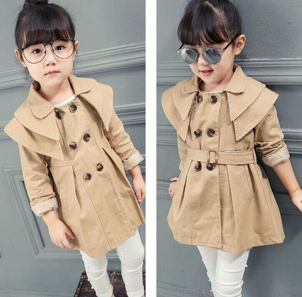 Retail Autumn New Girl dust coat Trench England Style Double breasted Belt Long Sleeve Coat Children Clothes E7301