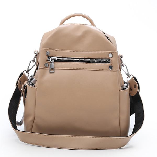 wholesale Vintage Simple Soft Leather Backpack Female Small Fashion Back Pack School Bagpack Solid Zip White Brand Designer Black
