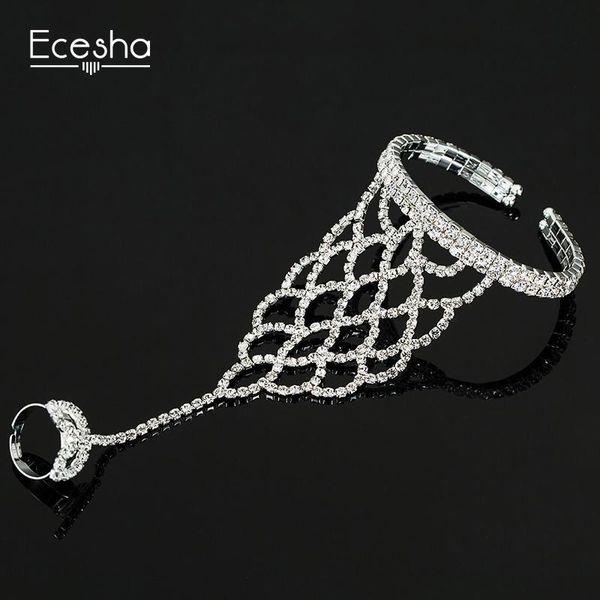 whole saleEcesha Trendy Net Mesh Hand Chain Bracelet Hand Harness Crystal Slave Bracelets Women Bridal Jewelry Open Cuff Bangle With Rings