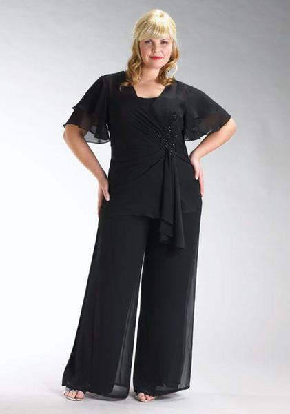 Weddings & Events 2018 sexy black chiffon two piece mother dress pants Vest Jacket folds back zipper bag mail cheap short sleeved bra