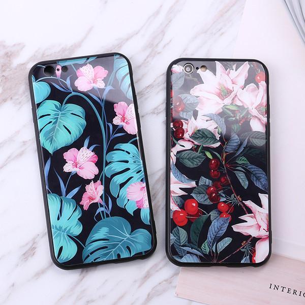 Cajas del teléfono de la flor Vidrio templado de alto grado para Iphone X Todo incluido Caja del teléfono celular duro para Iphone 6 7 8 Plus