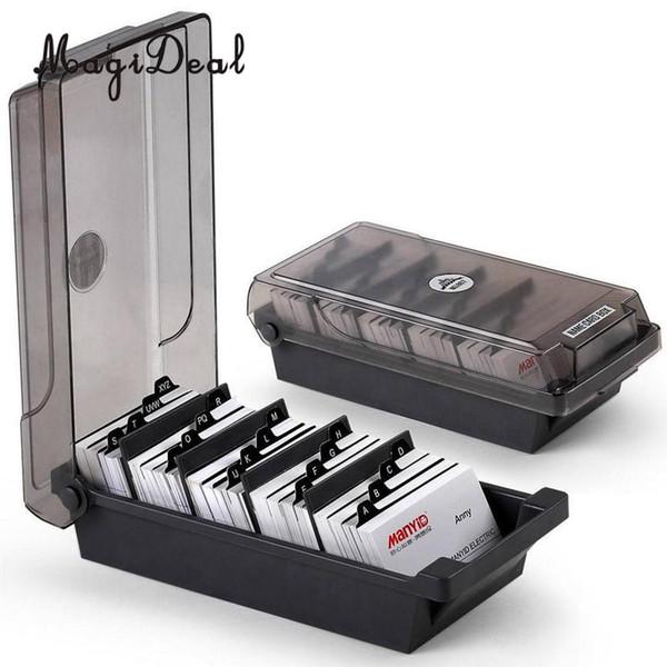 Large Capacity Business Card Holder Box Business Card File Storage Box Organizer Index Storage 4 Divider Board