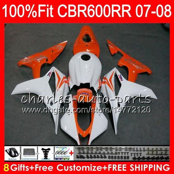 Inyección para HONDA CBR 600RR CBR600RR CBR600 F5 07 08 44HM.107 CBR600F5 CBR 600 RR CBR 600F5 07 08 CBR600 RR 2007 2008 Orange White carenado