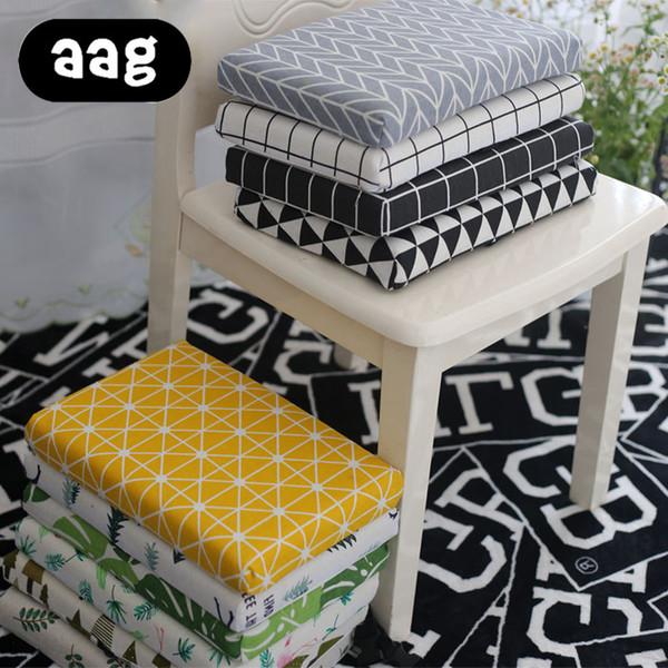 AAG Linen Throw Office Chair Seat Cushion Tropical Plants Print Anti-slip Chair Cushion Home Decor Square Floor Mat Pad Cushion