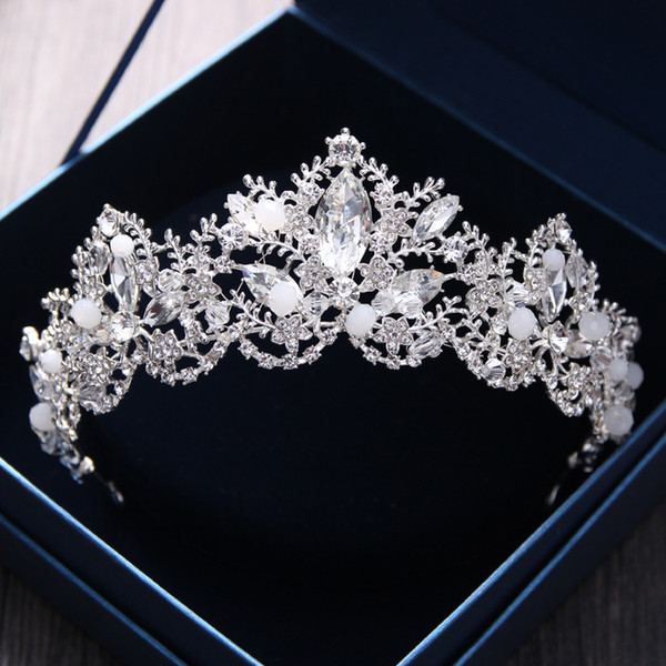 Gorgeous Bridal Crowns For Brides Sparkling Wedding Diamante Pageant Tiaras Hairband Crystal Prom Pageant Hair Jewelry Headpiece Gold Silver
