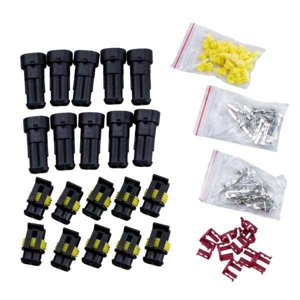 10 Kit 2 Pin Way Waterproof Electrical Wire Connector Plug