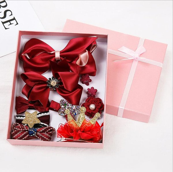 10-piece gift box children's hair accessories suit headdress Korean baby all-inclusive cloth hairpin bow hair ring boutique