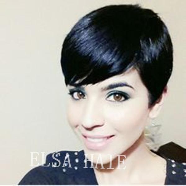 Short Human Hair Wigs Machine Made 6Inch Short Straight None Lace Wigs Chic Cut Side Part Human Hair Bob Wigs