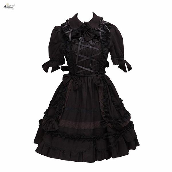 Lolita Kleid Frauen Gothic Dark Black Lolita Kostüme Baumwolle mit kurzen Ärmeln Cosplay A-Linie XS-XXL Cosplay Knie-Länge Kleid