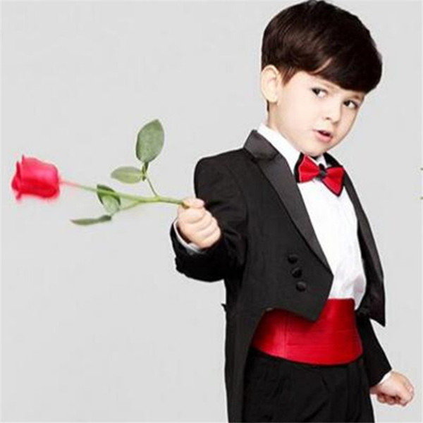 2018 Kid Clothing Black Tailcoat Wedding Suits Custom Made Flower Boy Dinner Suits Slim Fit Tuxedos Notched Lapel Children Suit Ring Formal