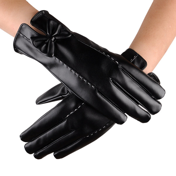 New 1 Pair Women PU Leather Waterproof Driving Full Finger Gloves Keep Warm And Touch Screen Glove Bow Skiing Gloves o10 oc6