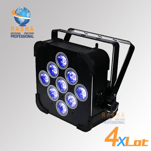 4X LOT Rasha 9pcs * 18W 6in1 RGBAW + UV Par Light alimentato a batteria con built-in DMX LED Slim Par Can wireless