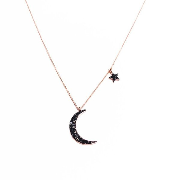 Simple Star Moon Pendant Necklace For Women - Bijoux Statement Necklaces Collier Choker Fashion Party Jewelry