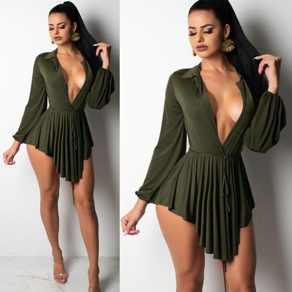 Nouvelle Arrivée 2018 Femmes De Mode Sexy Robe De Soirée Profonde Col En V Revers À Manches Longues Vente Chaude Jupes Courtes Dame Plissée Femael Clubwear