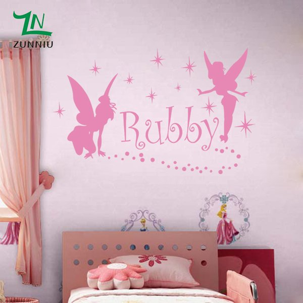 Fairies Gngel Dress Stars Custom Name Wall stickers For girls kids rooms Wall Personalized Names Decoration Decal Home Decor