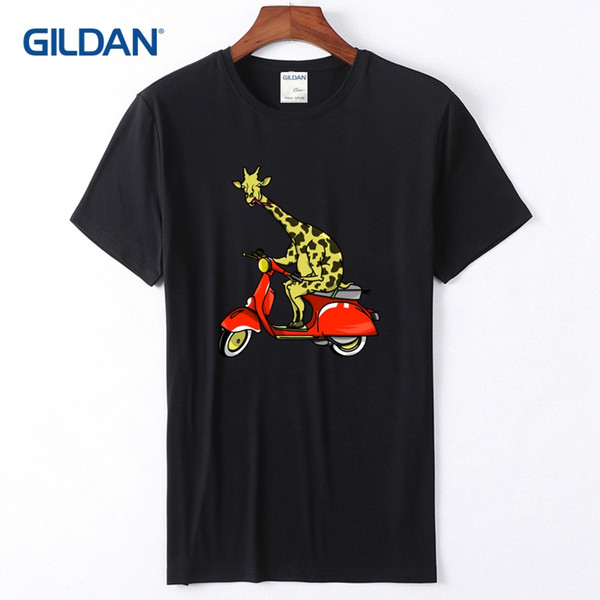 Design Your Own T-Shirt 2018 Giraffe On A Moped Tee Shirt Men Top Quality Black And White Striped Mens Tshirts