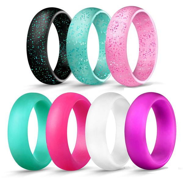 Anello popolare O-ring 5,7 millimetri Largo solido anello in silicone Anello semplice da donna Fasce da sposa Anelli sportivi Coppie Anello Gioielli DHL libero H500F