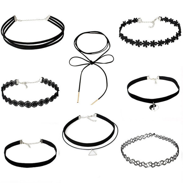 best selling Simple Collar European And American Jewelry Women Choker Combination Necklace Suit Decorations With Lace Necklace Sets Wholesale