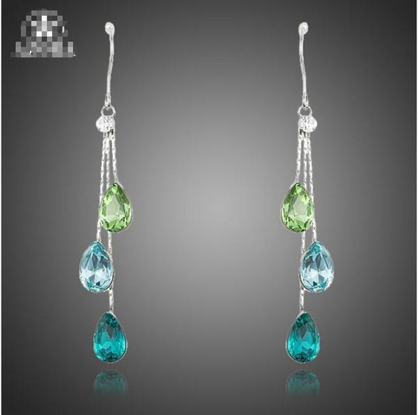 Elegant Charm Earrings for Women With 3pcs Water Drop Stellux Austrian Crystal Dangle Wedding Earrings TE0194