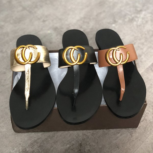 Women Designer Sandals Luxury real Leather flip flops Metal chains Summer Beach Shoes fashion slippers with box size 36-42