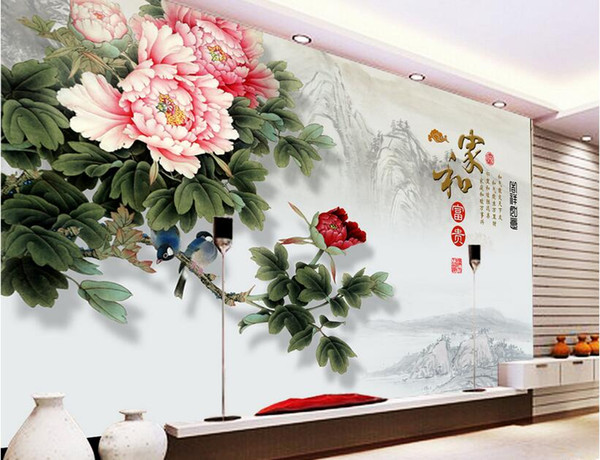 3d wallpaper custom photo mural Chinese painting peony flower TV background wall room Home decoration 3d wall murals wallpaper for walls 3 d
