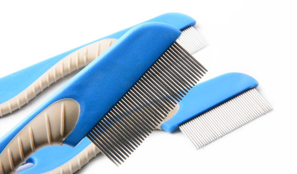 Dog Cat Grooming Comb Brush Pet Dog Hair Tool Clean Stainless Steel Needle Anti Nit Lice Combs Pet Catching Lice Cleaning Plastic Handles