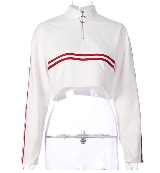 Street shooting autumn new women's zipper high collar long sleeve thin section sweater ribbon ribbon color short crop top