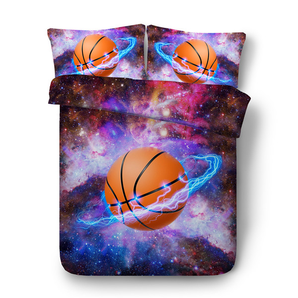 JF-557 Cool basketball and galaxy bed set 4pcs 3d sports bedding for teens boys seniors full queen king duvet cover sets kids