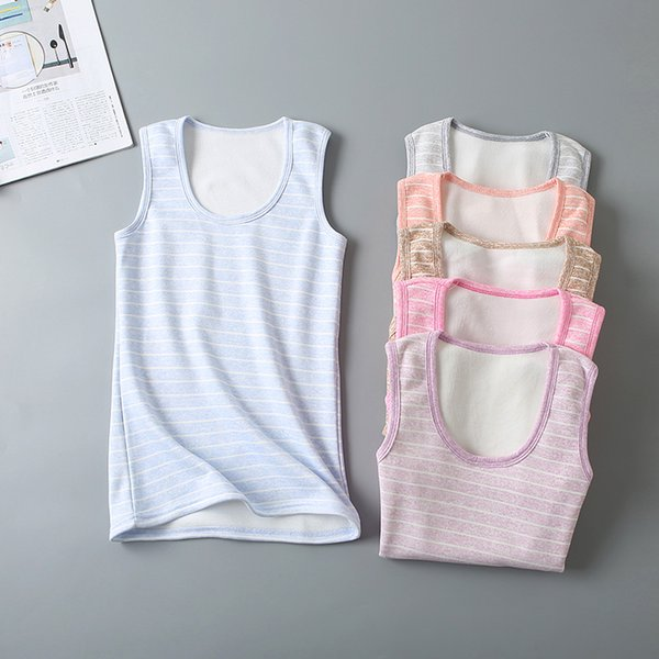 2018 Autumn Winter Women Striped Tanks All Match Warm Thick Velvet Tank Ladies Soft Bottoming Camis Vest Tops Plus Size AB1054