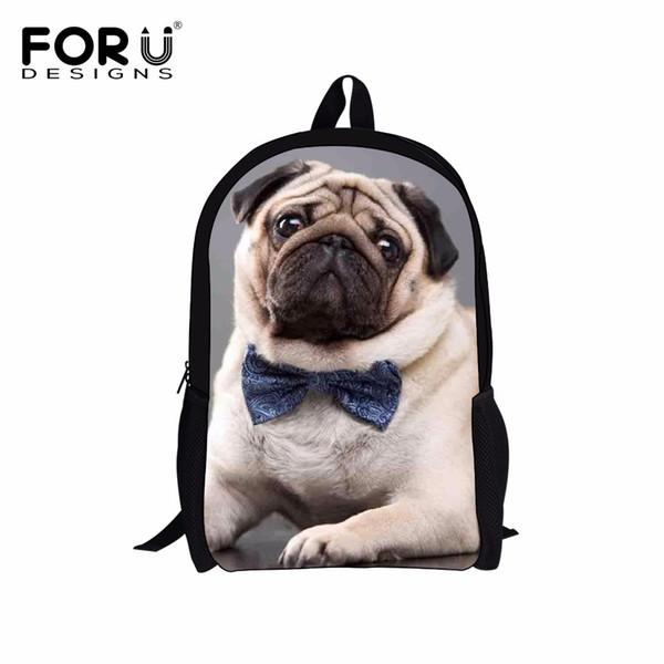 FORUDESIGNS Funny 3D Pug Kids School Bags Mochilas Infantil Dog Animal Children Schoolbag For Boys Girl Shoulder School Backpack