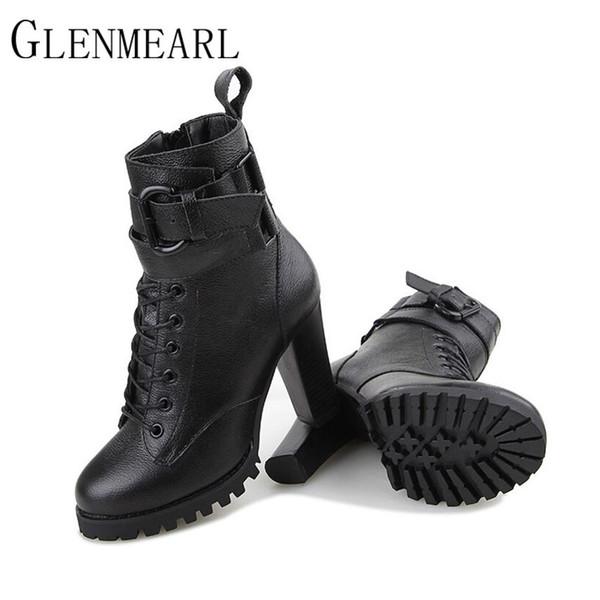 2018 Botas de cuero genuino de las mujeres de moda Otoño Invierno Plataforma de tacón alto con cordones Botines Zapatos Femeninos Botas negras ZK2.5