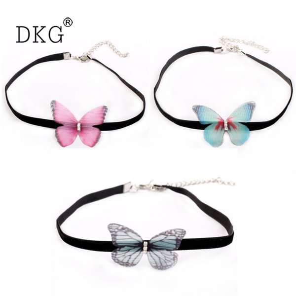 Популярные ювелирные изделия корейский бархат тюль ожерелье трехмерные бабочка ожерелье дамы короткие ключицы аксессуары для женщин