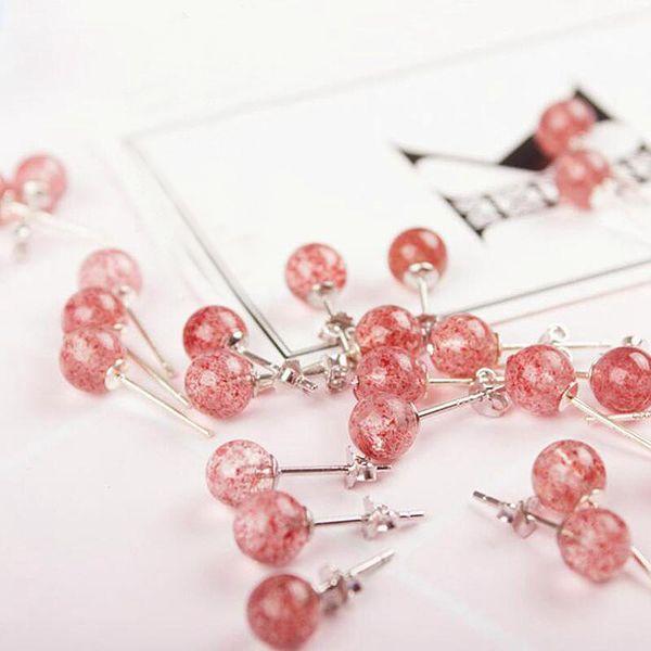 Ruifan Rosa Farbe Natürliche Erdbeerquarz Kleine Ohrringe 925 Sterling Silber Ohrstecker für Frauen Weiblichen Schmuck YEA248