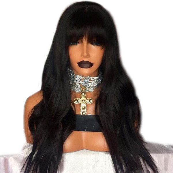 Stock long 180density simulation brazilian human hair wig natural wavy synthetic lace front wig with bangs for black women