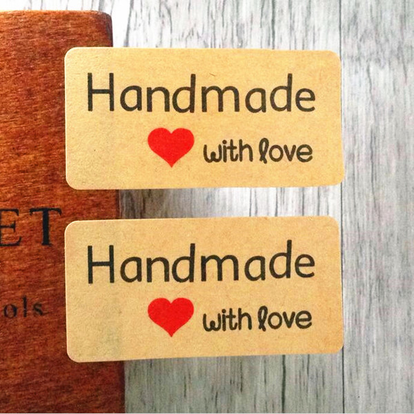 """1200 Pcs""""Hand made""""kraft paper seal stickers for handmade products diy bakery packsge label Adhesive Sticker"""