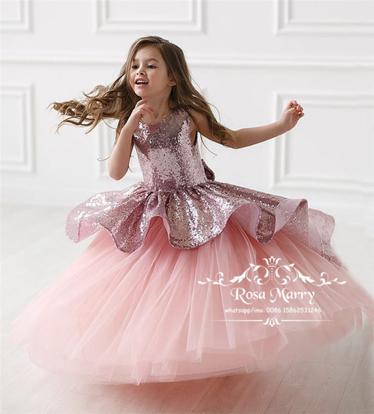 Rose Gold Sequined Girls Pageant Dresses 2020 A Line Pink Plus Size Cheap Knot Bow Toddlers Kids Cupcake Pageant Dresses for Teens