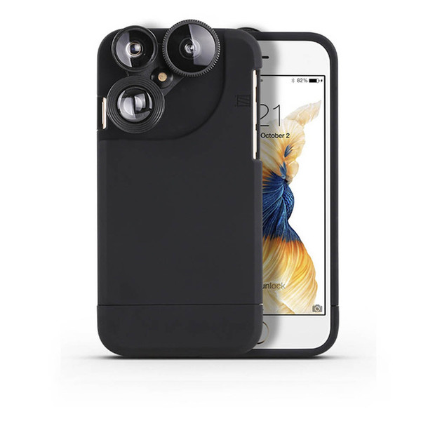 For iPhone 7/7 Plus 4 In 1 Wide Angle Fish Eye Macro Telephoto 360 Degree Rotation Phone Camera Lens Kit Mobile Phone Case Cover
