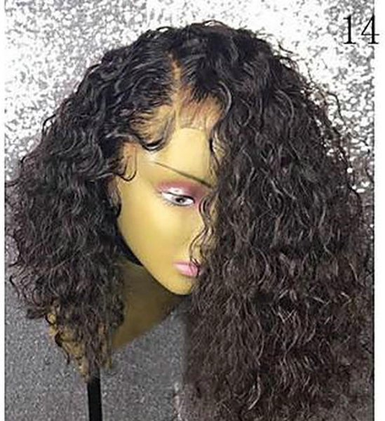 African american short kinky curly full lace front human hair wigs for black women gluelss 10-16inch 130% density cheap for sale