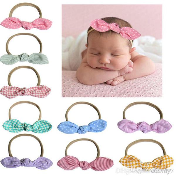 baby headbands Dot turbon knot bunny head bands nylon elastic hairbands children kids Hair accessories headwear party wear KHA198