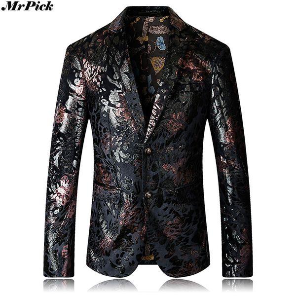 2018 Spring Autumn New Men Flower Blazers Fashion Single Breasted Slim Blazer E0906-002