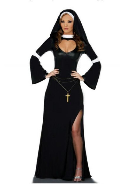 New Arrival, Arab Clothing Black Sexy Catholic Monk Cosplay Dress Halloween Costumes Nun Costume