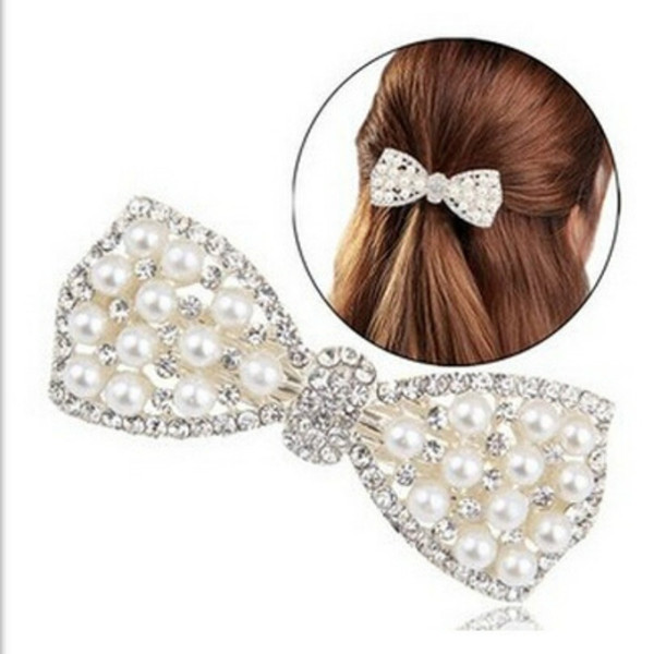 2018 classical style Pearl Rhinestone Jewelry Bow Shape Hair Accessories Girls Hairpin Lady spring Clips Women Barrettes Free Shipping