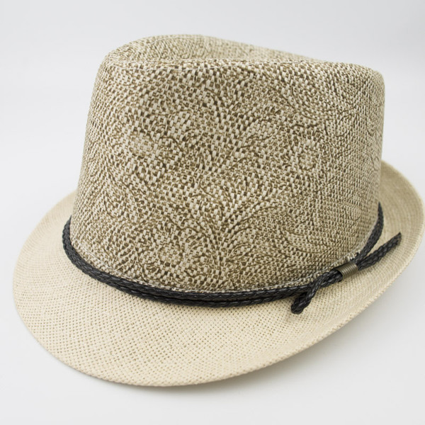 Paper Straw mens and womens Vintage Stingy Brim Floral Printed Best High Quality Trilby Fedora Jazz Hat EPU-MH1829